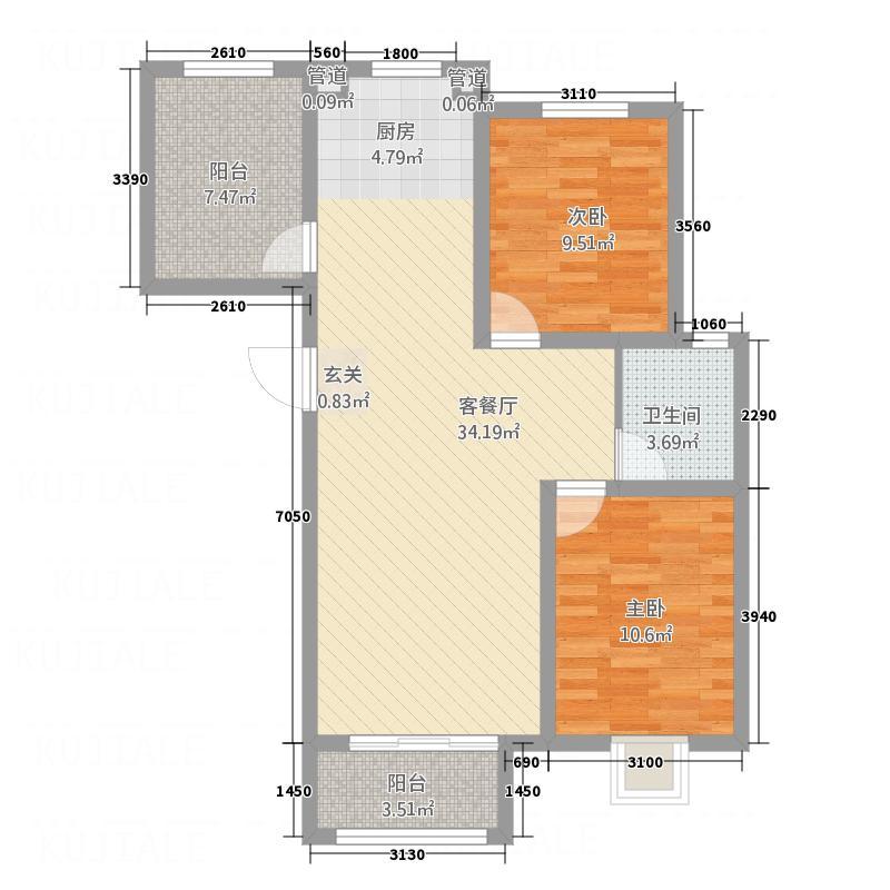 御河龙韵C3户型2室2厅1卫1厨