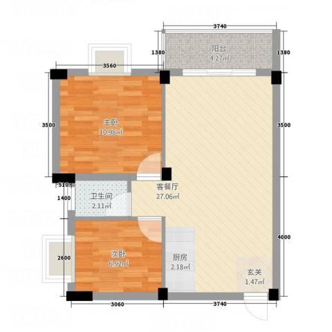叠美居2室1厅1卫0厨56.00㎡户型图