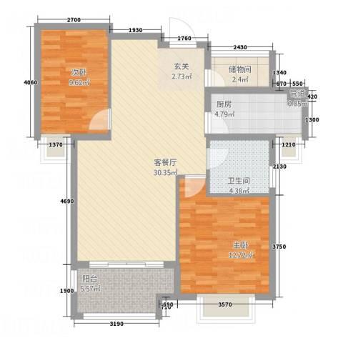 三航公寓2室1厅1卫1厨100.00㎡户型图