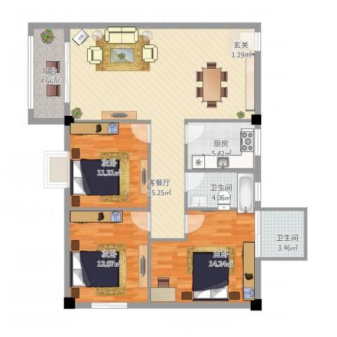 康城尚域3室1厅2卫1厨125.00㎡户型图
