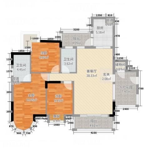 金沙假日广场3室1厅2卫1厨133.00㎡户型图