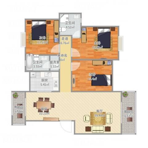 七里新村3室2厅2卫1厨109.69㎡户型图