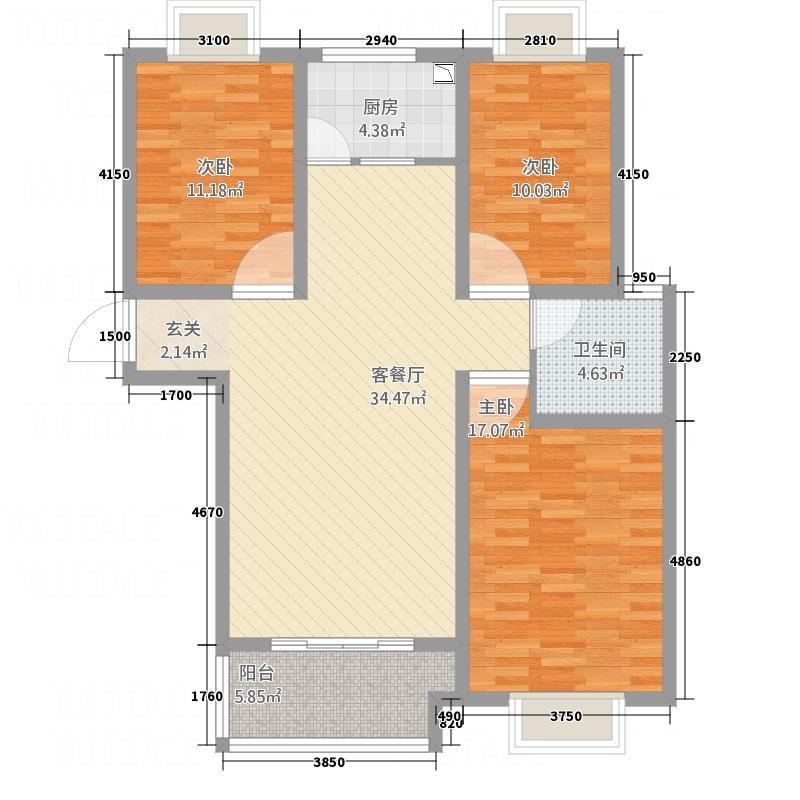 QQ家园125.00㎡A5户型3室2厅2卫