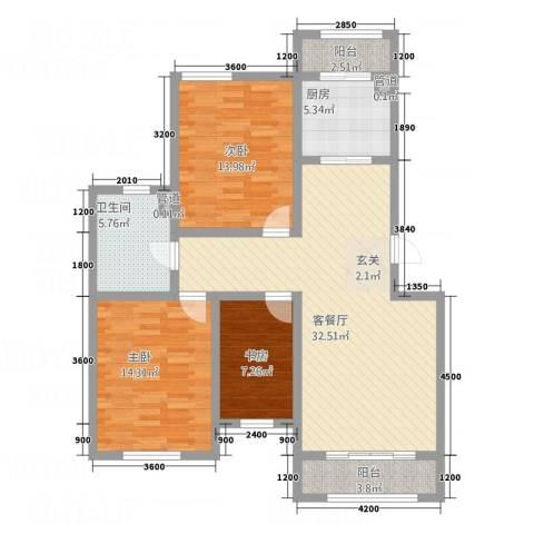 恒瑶・水韵城3室1厅1卫1厨85.67㎡户型图