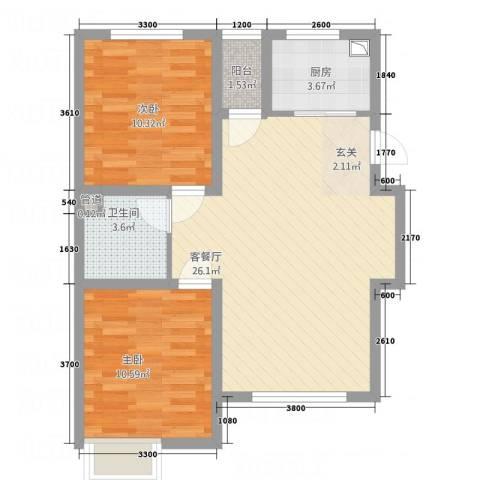天力城2室1厅1卫1厨64.48㎡户型图