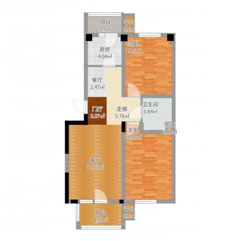 四季花苑二期绿地景城2室1厅1卫1厨100.00㎡户型图