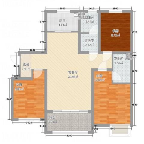 天力城3室2厅2卫1厨93.02㎡户型图