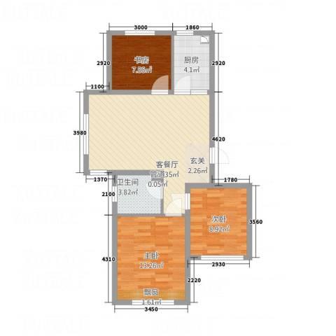 天力城3室1厅1卫1厨71.17㎡户型图