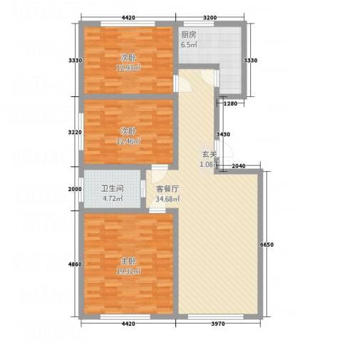 荣盛・爱家丽都3室1厅1卫1厨128.00㎡户型图