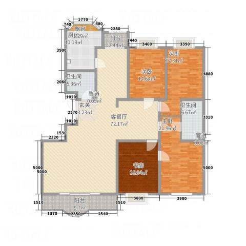 西安锦园4室1厅2卫1厨178.52㎡户型图