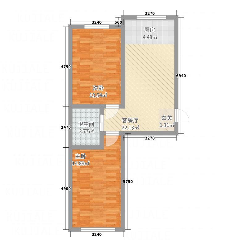 香江家园78.48㎡户型2室1厅1卫1厨