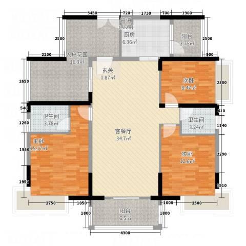 帝景豪庭3室1厅2卫1厨135.00㎡户型图