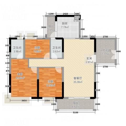 帝景豪庭3室1厅2卫1厨125.00㎡户型图