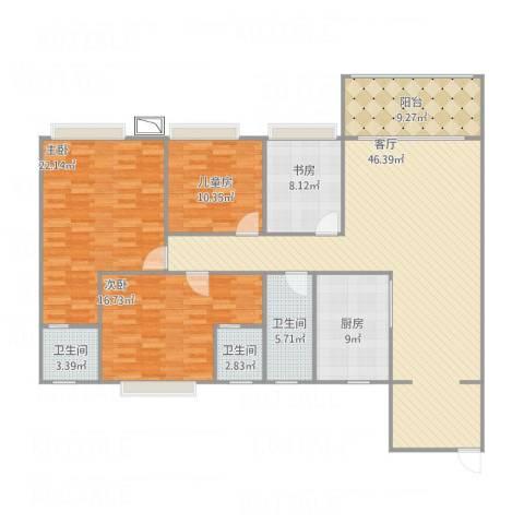 和富家园4室1厅3卫1厨180.00㎡户型图