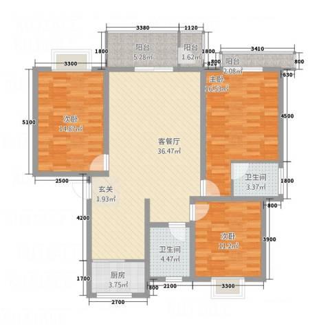紫光华庭・新世纪3室1厅2卫1厨99.64㎡户型图