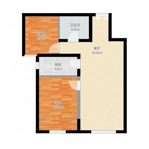 首创·悦都汇2室1厅1卫1厨87.00㎡户型图