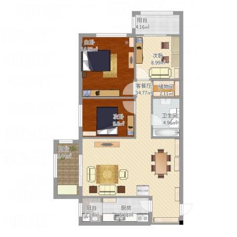 星河城三期3室1厅1卫1厨129.00㎡户型图