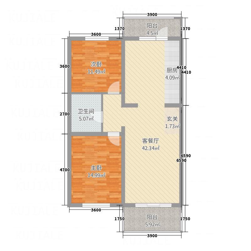 金梦园18.60㎡D户型2室2厅1卫1厨