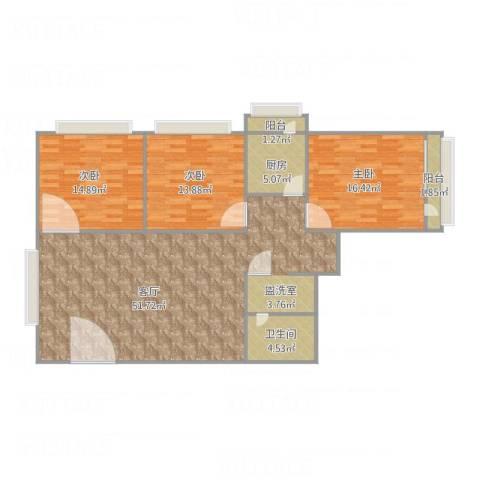 工商大学家属院3室1厅1卫1厨146.00㎡户型图