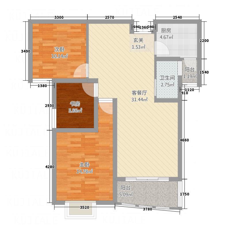 龙庭博雅苑B户型3室2厅1卫