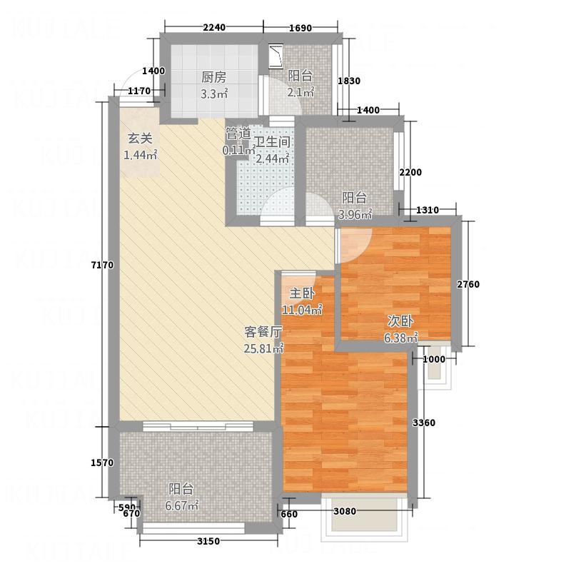 新港名仕花园147.00㎡户型2室2厅1卫1厨