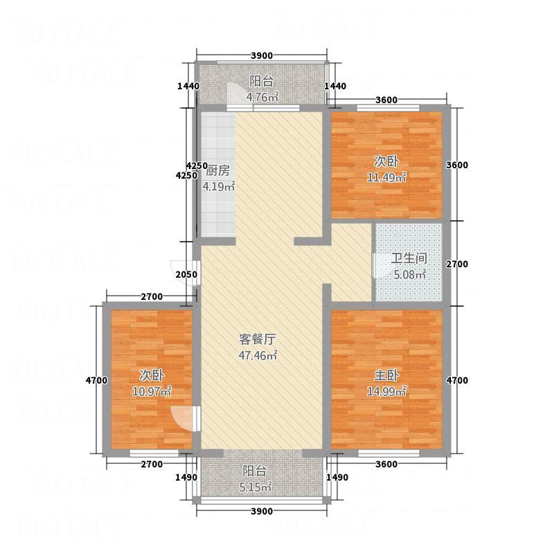 金梦园125.50㎡E户型3室2厅1卫1厨