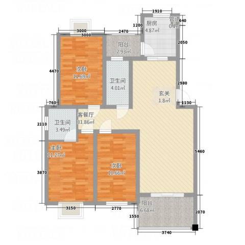 紫薇花园3室1厅2卫1厨126.00㎡户型图