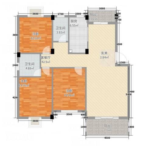紫薇花园3室1厅2卫1厨152.00㎡户型图