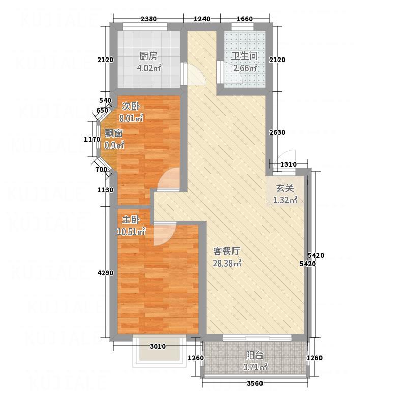 0633春天公寓83.00㎡户型2室2厅1卫1厨