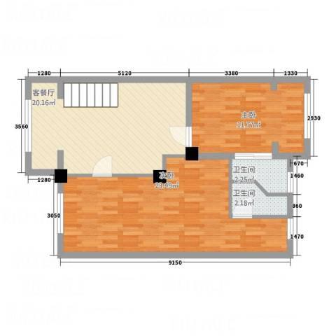 金沙湾一期陶然居2室1厅2卫0厨85.00㎡户型图