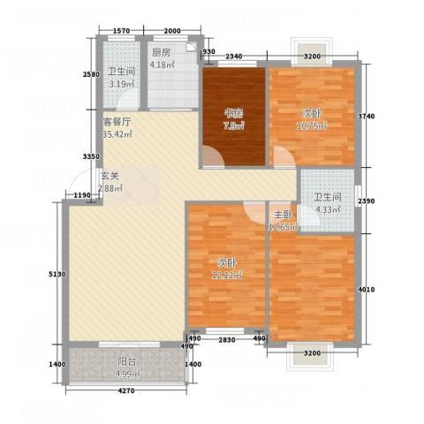紫薇花园4室1厅2卫1厨133.00㎡户型图