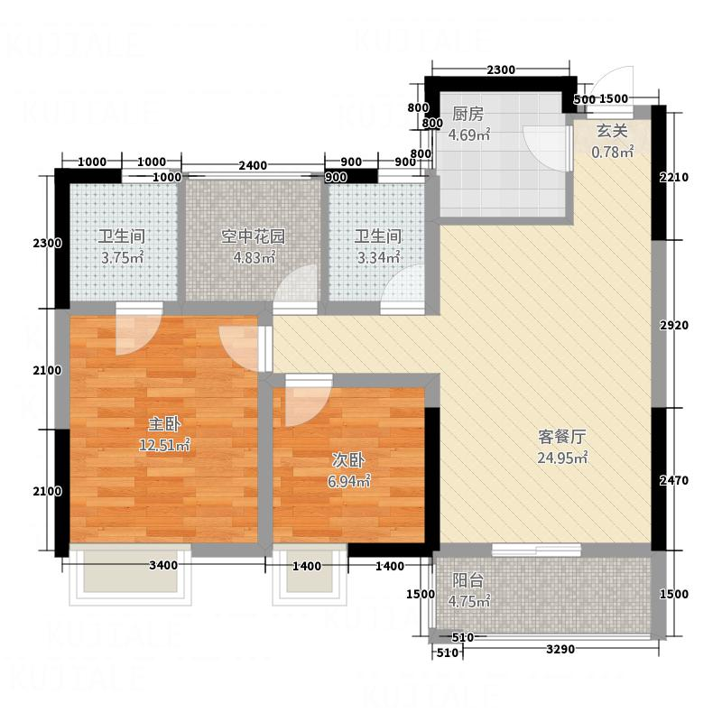 荆州市望江国际228.82㎡A户型2室2厅2卫1厨