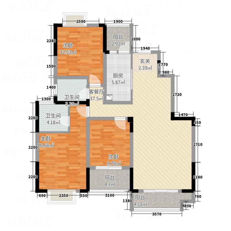 南湖壹号13.88㎡6、7栋A户型3室2厅2卫1厨