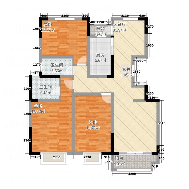 书香雅苑142.43㎡a-1户型3室2厅2卫1厨