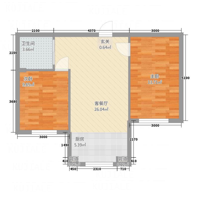香江家园6.00㎡A户型3室1厅1卫1厨
