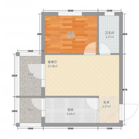 新宏基御景园1室1厅1卫1厨56.00㎡户型图