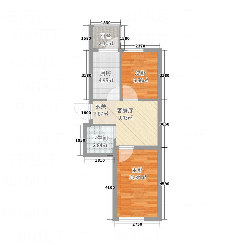 新宏基御景园53.78㎡御景园4号楼1户型2室1厅1卫1厨