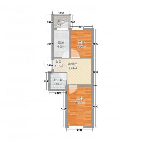 新宏基御景园2室1厅1卫1厨54.00㎡户型图
