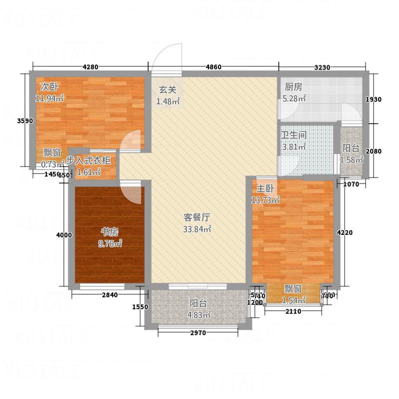 益宏・上海映象2122.48㎡K-2户型3室2厅1卫1厨