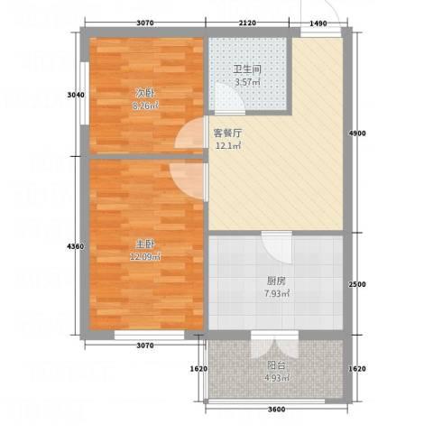 新宏基御景园2室1厅1卫1厨48.89㎡户型图