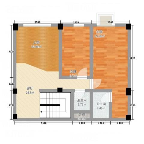 叠美居2室1厅2卫0厨124.00㎡户型图