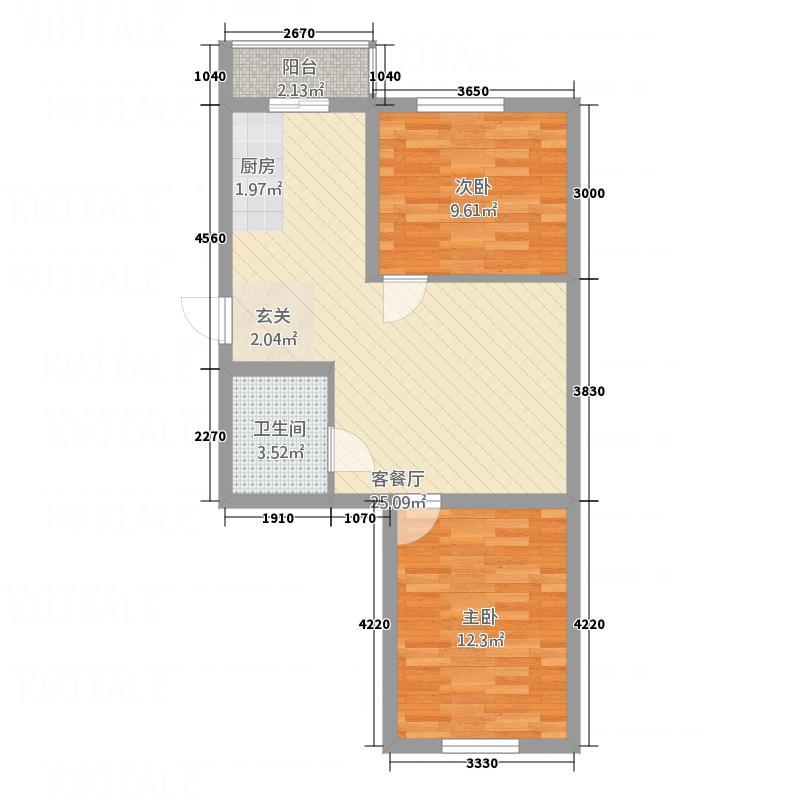 环北花园7.70㎡二期户型2室1厅1卫