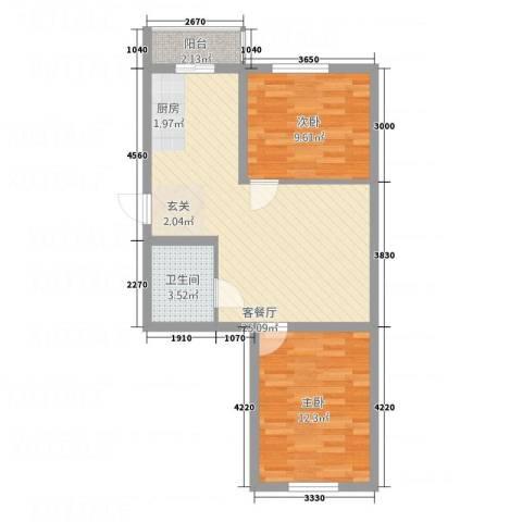 环北花园2室1厅1卫0厨52.64㎡户型图