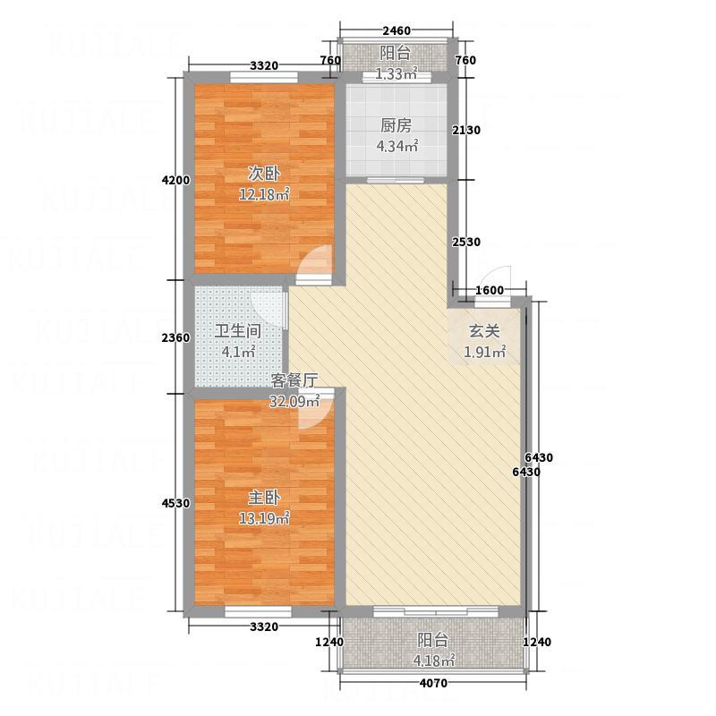 环北花园4.40㎡二期户型2室2厅1卫