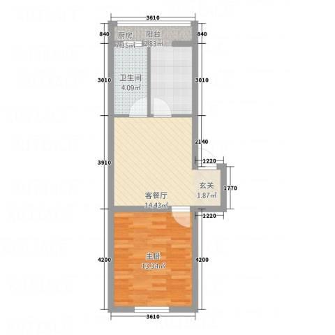 环北花园1室1厅1卫1厨39.21㎡户型图