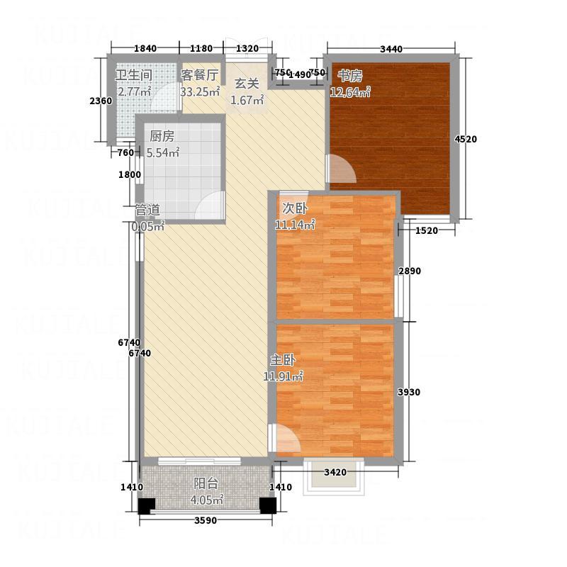 深港・第一城115.23㎡2户型3室2厅1卫1厨