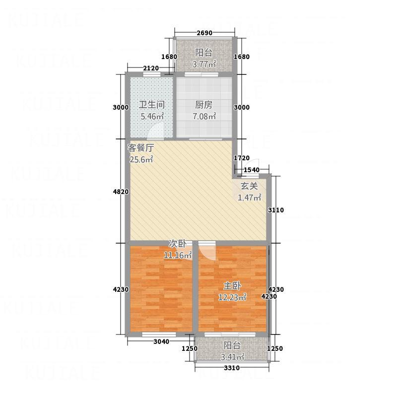 环北花园87.60㎡二期户型2室1厅1卫