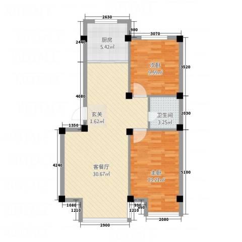 光明小区2室1厅1卫1厨87.00㎡户型图