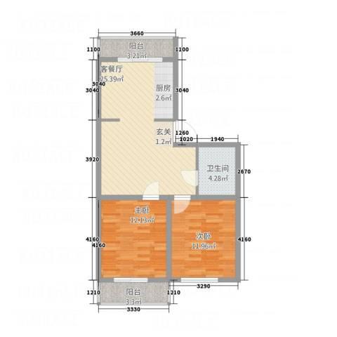 环北花园2室1厅1卫0厨82.00㎡户型图