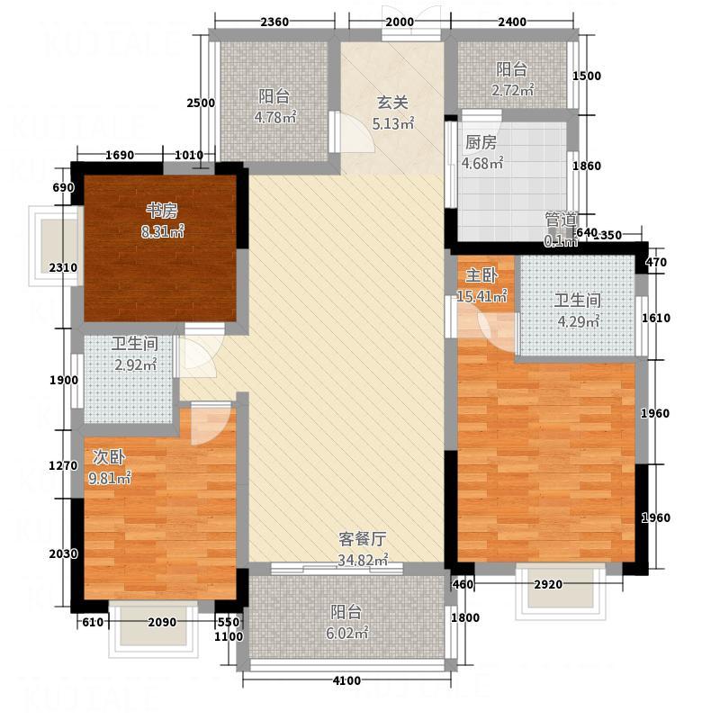 南湖壹号12.85㎡9、11、13栋D户型3室2厅2卫1厨